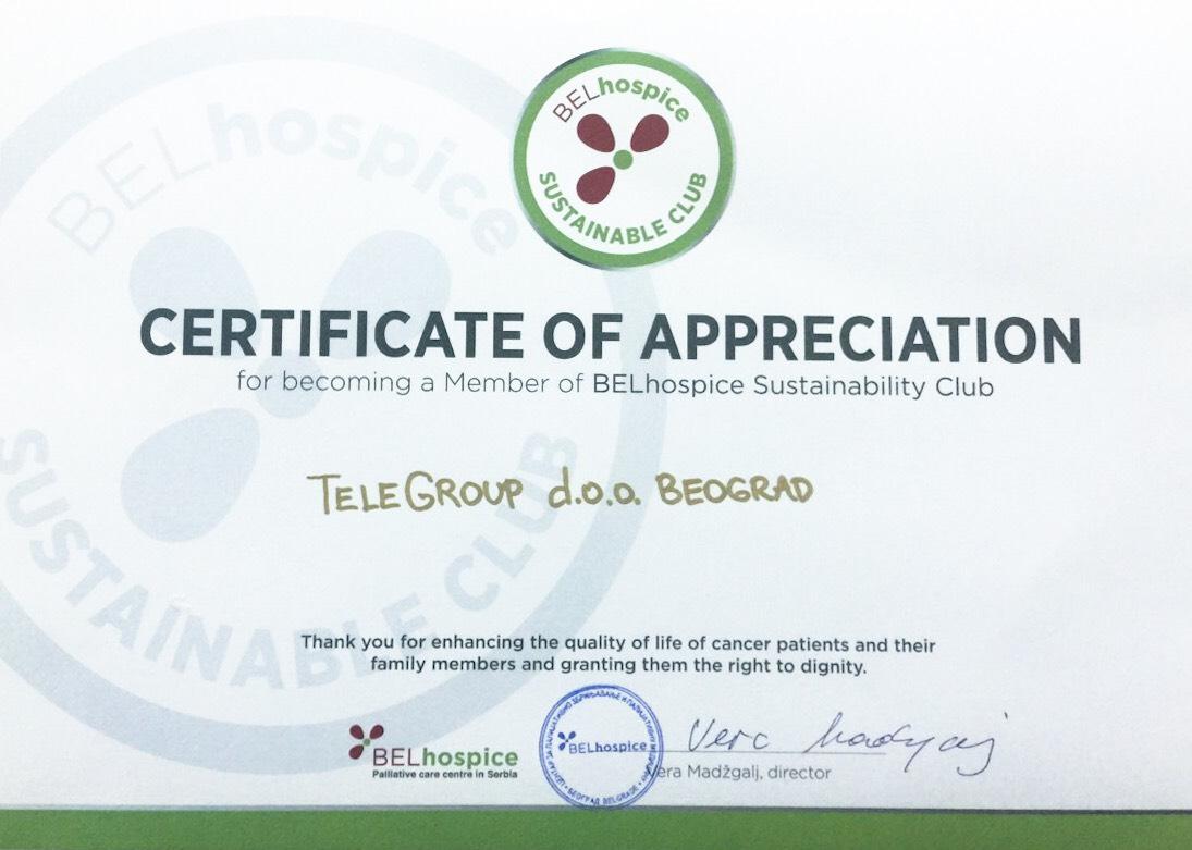 Postali smo član BELhospice Kluba održivih davanja za podršku onkološkim pacijentima