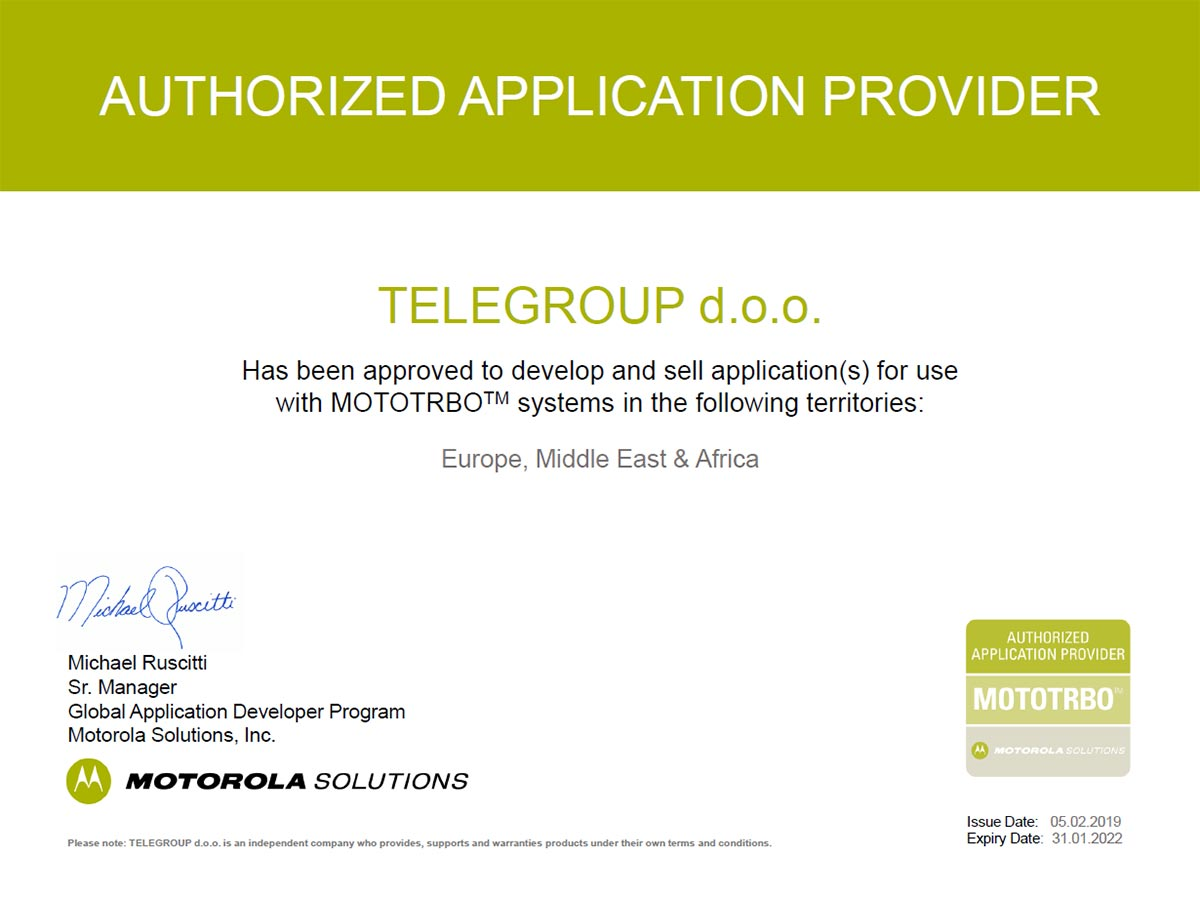 "TeleGroup postao autorizovani Motorola ""Application"" Partner"