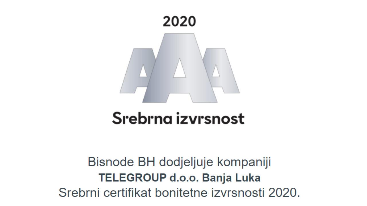 TeleGroup Banja Luka ponosni dobitnik sertifikata bonitetne izvrsnosti